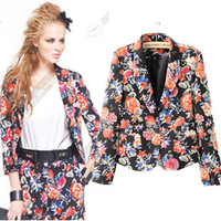 2014 new women's autumn and winter in Europe and America wholesale flower print suit casual jacketwinter coat women