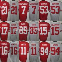 Cheap Football Jerseys 7 KAEPERNICK 11 PATTON 15 CRABTREE 21 GORE 53 BOWMAN 94SMITH 85 DAVIS 17 JENKINS 16 Montana elite Jerseys