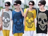 bust 110cm Summer modal cotton short-sleeved t-shirt female loose long large plus size women's bat sweater tide skull