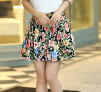 2014 women's pleated chiffon slim package hip skirt loose skirt short skirt female bust skirt