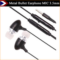 Newest Earphone Bullet Metal Stereo Bass Earphones 8 Colors Headset In Ear With MIC 3.5mm Jack Standard With Free Shipping