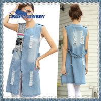 2014 summer new fashion brand hole lace denim ladies colete vest sleeveless washed long jeans coat vests for women waistcoat