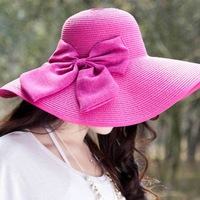 Hot New 2014 Fashion Summer Big Bowknot Straw Hat Beach Cap Sun Hats for Women Sexy Vogue Ladies Large Brim Novelty