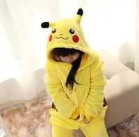 Anime Kids Pokemon Pikachu Onesie Cosplay Children Hooded Sleepwear One Piece Animal Footed Pajamas Kid Funcy Costume