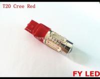 Free Shipping 2pcs RED T20 7440 W21W capless Wedge 11W PLASMA+Cree FOG or BRAKE Tail Signal  12v coloured car auto lamp light
