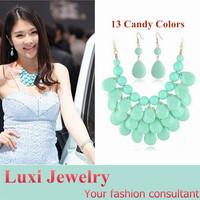 Candy 13 Colors  Bohemian Water Drop Jewelry Set Necklace Pendant Drop Earrings Set Fashion European Statement Jewelry