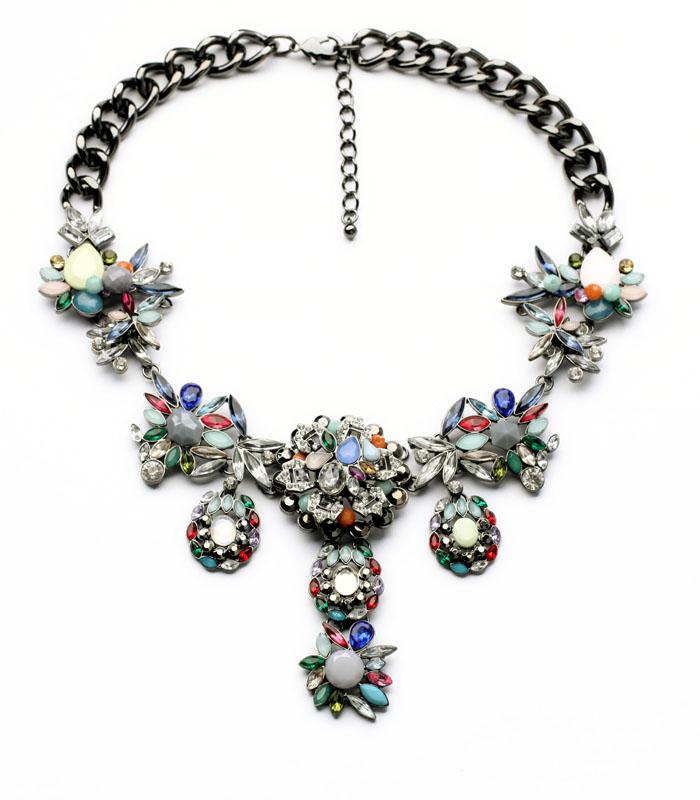 N00942 Beauty Latest Wholesale Latest Imitation Jewelry Gunmetal Color Rhinestone Unique Statement Heavy Chunky Necklaces(China (Mainland))
