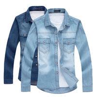 K200 New Fashion Mens Casual Denim Shirt Luxury Stylish Wash Slim Fit Shirts