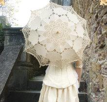 2014 amarillento hecho a mano de la boda nupcial del parasol del cordón del paraguas de las señoras bordado paraguas princesa(China (Mainland))