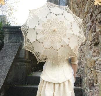 2014 handgemaakte bruiloft bruids beige kant parasol paraplu dames borduren prinses paraplu - Paraplu katoen ...