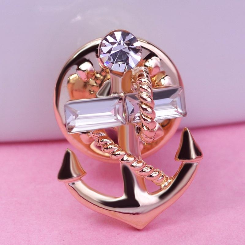 Excellet Brand Design Small Navi Navy Marine Sea Gold Anchor Rhinestone Brooch Crystal Colar Pin Men Lapel Pin Charming Jewelry(China (Mainland))