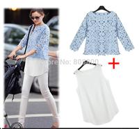 Hot Sell Free Shipping Cotton Lace Hook Flower Lace Chiffon Shirt Bottoming Shirt Blouse Piece Shirt 5285