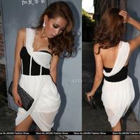 oblique shoulder nightclub queen sexy chest wrapped chiffon dress lantern skirt