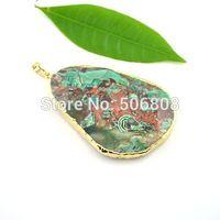 10 PCs Free Form Ocean Green Jasper Gem Stone Pendant , Druzy Drusy Agate Slab Stone Charms with 24K Gold Tone Edge
