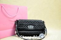 2014 Famous Brand New Collection Women Handbags Original Lambskin Leather Pleated Shoulder Bags Luxury Gem diamond Lady's Purse