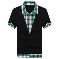 Men's Plaid Shirt Collar Casual Short-sleeved T-shirt Bottoming Shirt Casual Fashion Popular Hot Sale Shirt Good Quality XJ688