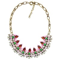 NEW JUJIA Brand high quality Prong Setting crystal triangular Statement necklace fashion  Necklaces & Pendants pink yellow color
