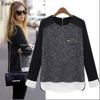 Lanluu Hot ! New 2014 Fashion Autum & Winter Long Sleeve Kintted Patchwork Chiffon Women T-Shirts SQ444