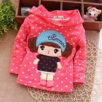 Spring new baby t-shirt , hoodie girls , Korean girls dot cartoon t-shirts , children's clothing