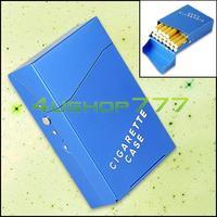 Free Shipping EG5510 Blue Aluminum Alloy 20Pcs Cigarettes Cigar Tobacco Box Case Holder Pouch