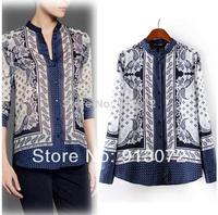 ST1385 New Fashion Ladies' Elegant Vintage Totem print blouse shirt Turn-down collar long sleeve casual slim brand designer tops
