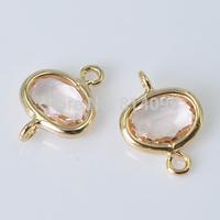 Bezel Gemstone Connectors - Rose gold-Imitation of zirconium- Oval Shape Links (8.5mm - 20pcs)
