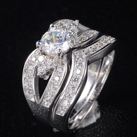 Sparkling Women's White Sapphire Crystal Stone 925 Silver Filled Bridal Wedding Ring Set