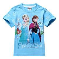 2014 New Arrival Cotton Girl T Shirt Cartoon Frozen Elsa Summer Clothes Frozen Anna Kids Clothes Frozen Shirt Short Sleeve Loose