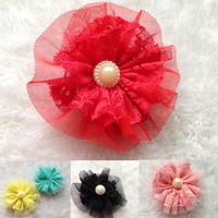 Hair Accessories 100PCS Baby Girl Lace Mesh Flower Pearl center Fabric Flower falt back DIY for corsage dress flower
