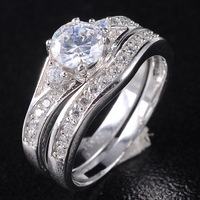 Grace Women's White Sapphire Crystal Stone 925 Silver Filled Bridal Ring Set