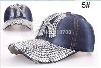 Free Shipping Wholesale Hat Rhinestone Print Denim Rivet Sun-Shading high quality Baseball Summer Women's Cap