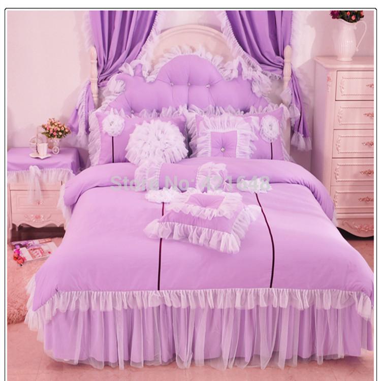 Purple Pink Blue Korean Lace Princess Bedding Set Cotton 3