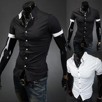 HOT Sales ! Free Shipping 2014 mens Short Shirt Mens Cotton Fashion Short Sleeve Shirt,2 Colors,Turn-down Collar,Thick Solid