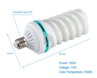 NEW 5500K 110V 150W E27 Spiral Tricolor Photography Fluorescent LED Lamp Light Bulb P0014951 Free Shiping