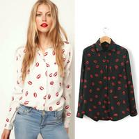 XS-XXL,2014 New Women Hot Sale Brand Design High Street Elegant Lip Print Chiffon Blouse Shirt,black;white,Y6045