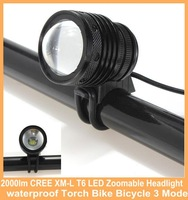 2000lm CREE XM-L T6 LED Zoomable Headlight Headlamp waterproof Torch Bike Mode for bicycle outdoor with 18650 battery +charger