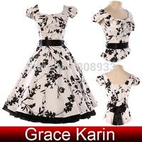 AL17121 STOCK Grace Karin Women Knee Length Rockabilly Swing Pin Up 60s 50s 40s Retro Vintage Print Dresses CL4598