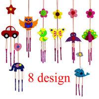 16PCS/LOT.DIY fabric wind chime craft kits,Felt aeolian bells kit,Home decals,Kindergarten crafts.8 design,10x40cm.Wholesale