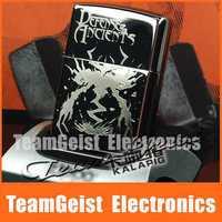 Dota Lighter Black Ice Shadow's Lament Mohun World of Warcraft DOTA SF Genuine Slim Metal Steel Mens' Windproof Lighter Gifts