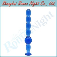 Blue Enticing Crystal Glass Anal Beads Series-Primary, Unisex Anal Butt Plug Sex Toys, Adult Sex Products