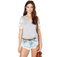 woman casual T-shirt with sexy embroidered lace stitching sleeves for wholesale and free shipping haoduoyi