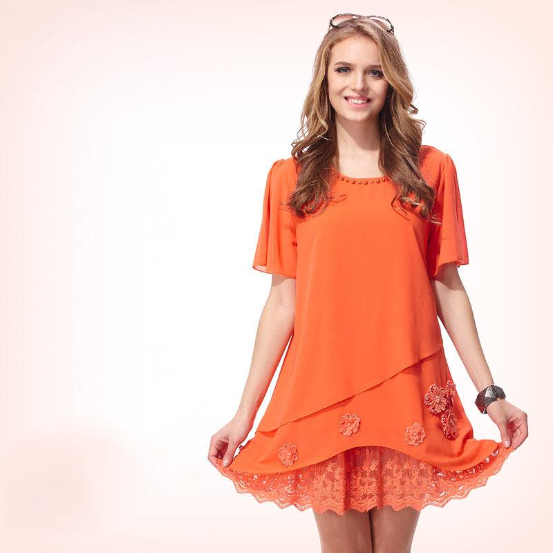 Fashion Orange Plus Size Dress Plus Size Summer Irrigular