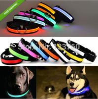 NEW LED Light Flashing Pet Dog Safety Collar For Night Nylon Adjustable Collars S/M/L/XL