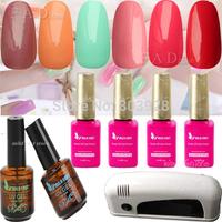New 2014 15ml Nail Art Soak Off GM nail polish +UV Lamp+TOP COAT+BASE COAT Glue Soak Off Nail Gel Polish manicure set