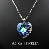 Ocean Heart Pendant Necklace For Women Crystal Rhinestone Jewelry New Sale 2014 Made With Austria Elements