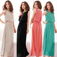 Exclusive! S - XXXL! 7 Colors, 2014 New Hot Sale Women High Quality Pleated Bohemia Maxi Long Chiffon Dress