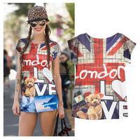 2014 New summer fashion Vintage british flag t shirt Short Sleeve UK Flag o-neck Printed T-Shirt Tee Tops Blouses women TS-107