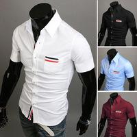 Free Shipping 2014 mens Short Shirt Mens Cotton Fashion Short Sleeve Shirt,4 Colors,Turn-down Collar,Thick Solid HOT Sales !