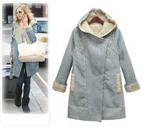 Women Hooded Suede Fabric Lambs Overcoat Long Type Lamb Fur Coat Warming Women Jacket Winter Outerwear  2014 New Fashion  A883