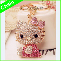 J0001 - 1pc Retail Classic 18K Gold Plated Inserted Rhinestone Key Chains for Girl Women Keychain Free Shipping